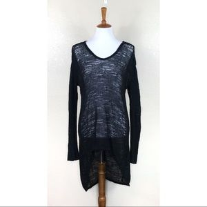 Helmut Lang Distressed Open Knit Tunic Sweater